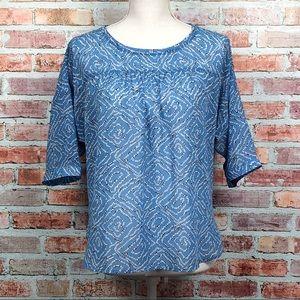 LOFT Blue Geometric Dolman Sleeve Blouse